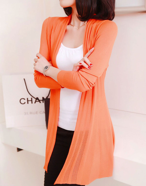 acb9997a16c Candy Color Plus Size Casual Design Women Cardigan Long Sleeve Knitted  Cardigans Ladies Summer Top Front Open Long Sweater S33