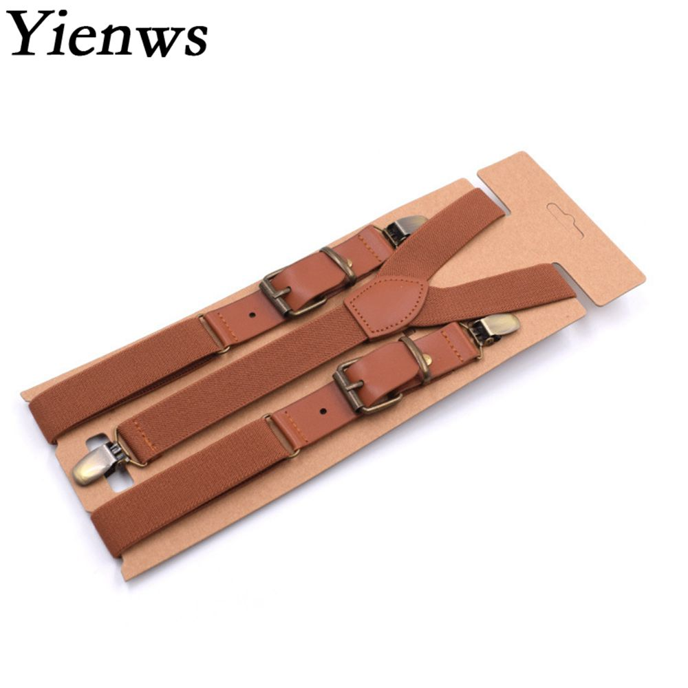 Yienws Vintage Men Suspenders 3 Clip Strap Braces for Trousers Pu Leather Suspenders Men Pants Brown 115cm Bretels Mannen YiA040(China)