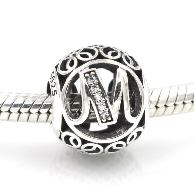ec4d900e0 2016 New 925 Sterling Silver Beads Vintage Openwork Alphabet Letter M Charm  Bead Fits Pandora Charms Bracelet DIY Jewelry Making