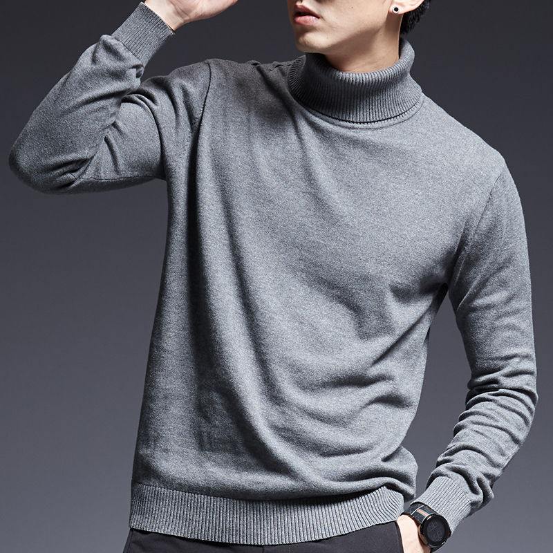 2019 New Fashion Brand Sweaters Men's Pullovers Turtleneck Slim Fit Jumpers Knitwear Warm Autumn Korean Style Casual Men Clothes