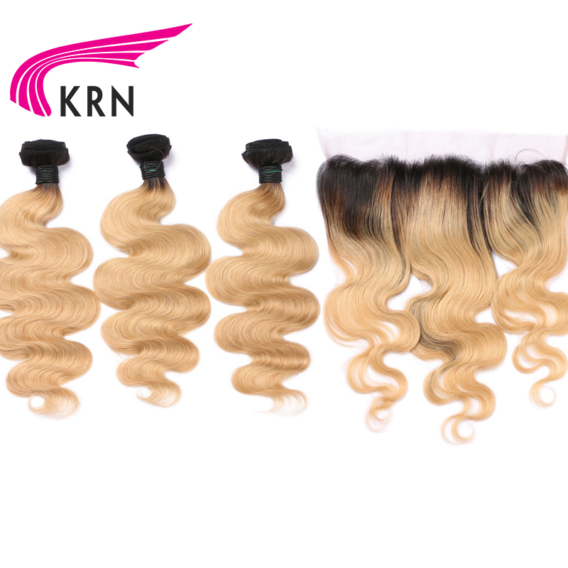 KRN 1B 27 Brazilian Remy Hair 3 Pieces Bundles With 13*4 Ear To Ear Lace Frontal Closure Body Wave Human Hair Bundles Full End-in 3/4 Bundles with Closure from Hair Extensions & Wigs    1