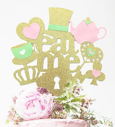 Gold Pink Mint Acrylic Alice In Wonderland Cake Topper Eat Me Birthday Tools Wedding Party Decorations Decorating Supplies From Home Garden On