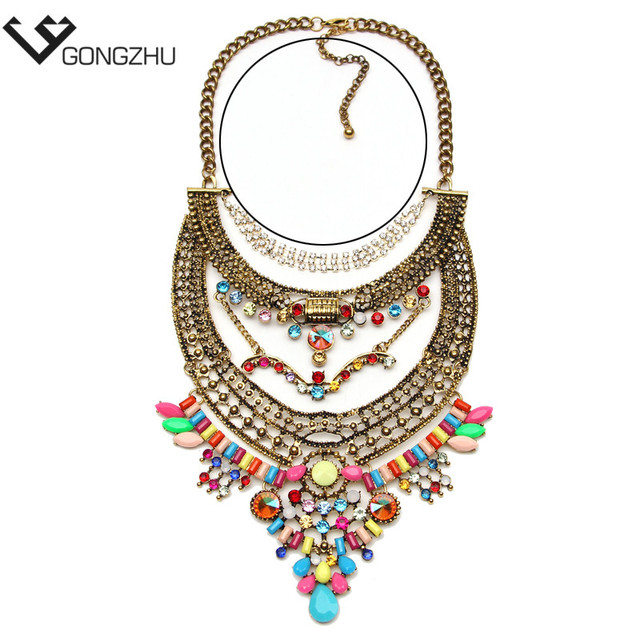Exaggeration brand new design hot chunky vintage Punk fashion statement Necklace metal chain Necklaces & Pendants wholesale