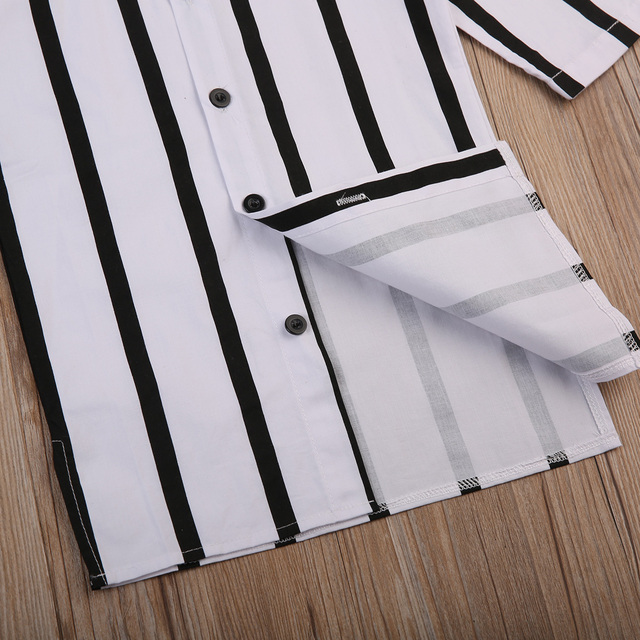 Black & White, Striped Casual Long Sleeved Button-Up Shirt Dress 4