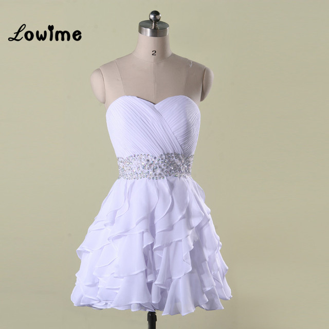 White Short Homecoming Dresses Cheap 8 Grade Graduation Prom Dresses Pretty  Corset Back Wedding Party Dress vestido de festa 37159b994