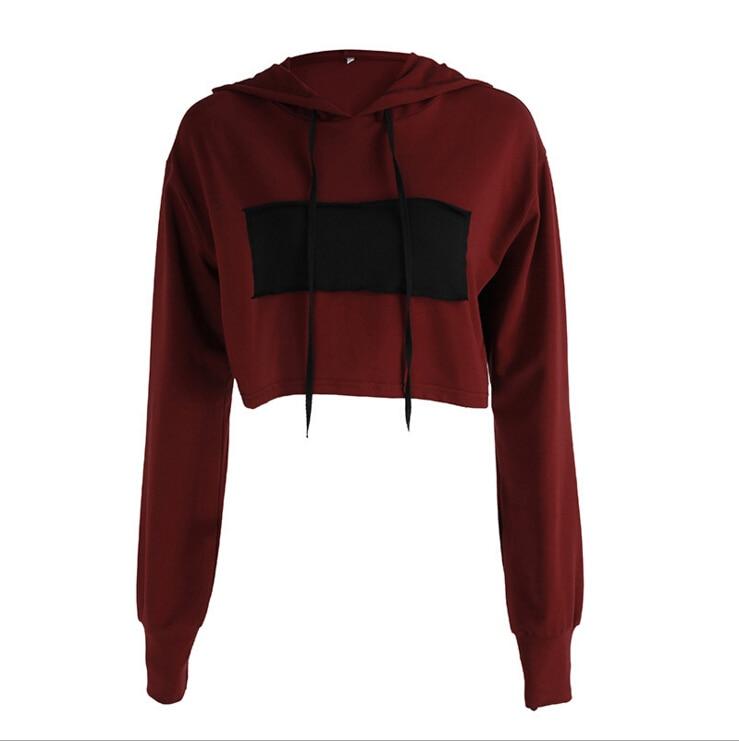 Short Hoodies Jumper Sweatshirt Women Long Sleeve Wine Red Patchwork Casual Hooded Top Coat Pullover