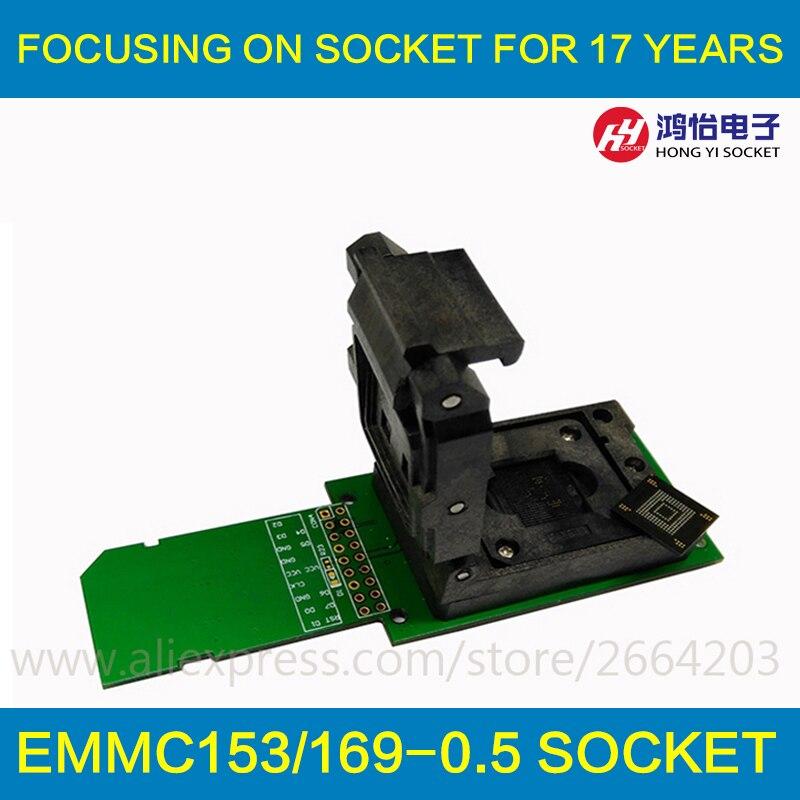 Leitor de chip de eMMC soquete eMMC153 eMMC169 Estrutura Clamshell BGA153 BGA169 Chip soquete data backup de recuperação de dados de reparação Android