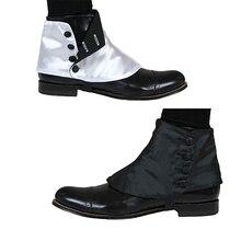 تأثيري لاي دي القرون الوسطى التاريخية الرجعية الرجال أزرار الساتان قسط Spats الأحذية الفيكتوري يغطي Spats L320