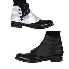 Cosplaydiy chaussures rétro médiévales pour hommes, couvre chaussures victoriennes, à boutons en Satin, style historique, L320