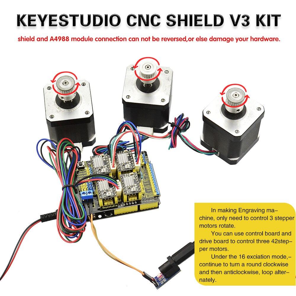 Image 3 - Frete grátis! keyestudio kit cnc para arduino cnc escudo v3   uno  r3 4 peças a4988 driver/grbl compatívelkit for arduinokit kitsuno r3