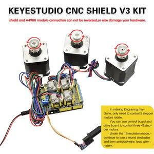Image 3 - Gratis Verzending! Keyestudio Cnc Kit Voor Arduino Cnc Shield V3 + Uno R3 + 4 Stuks A4988 Driver/Grbl Compatibel