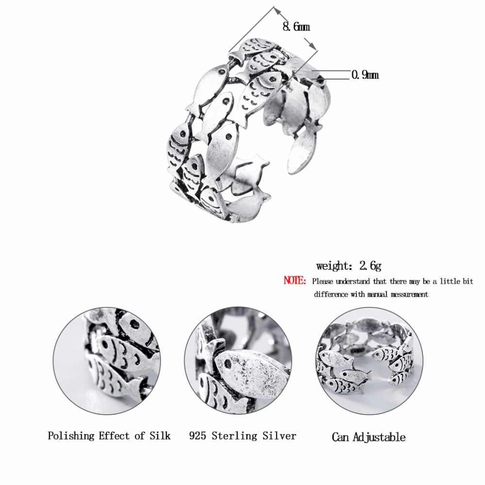 แชนด์เลอร์จริงเงิน Retro แหวนปลาสำหรับผู้หญิงงานแต่งงานแหวนแฟชั่นเงินสเตอร์ลิง - เครื่องประดับของขวัญหญิง