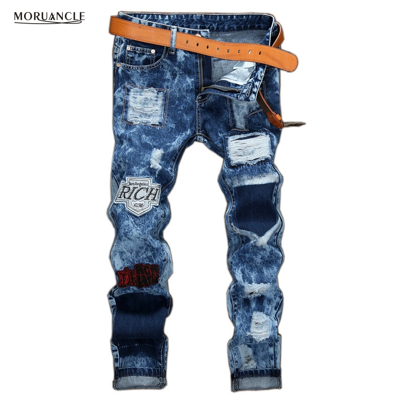 ФОТО MORUANCLE Brand Designer Mens Ripped Patch Jeans Joggers Snow Distressed Denim Trousers Hole Stone Washed Straight Torn Pants