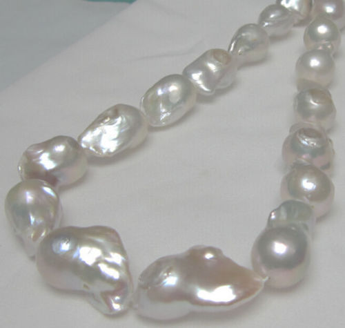 """18MM-25MM REAL HUGE AAA WHITE SOUTH SEA WHITE keshi reborn PEARL necklace 18/"""""""