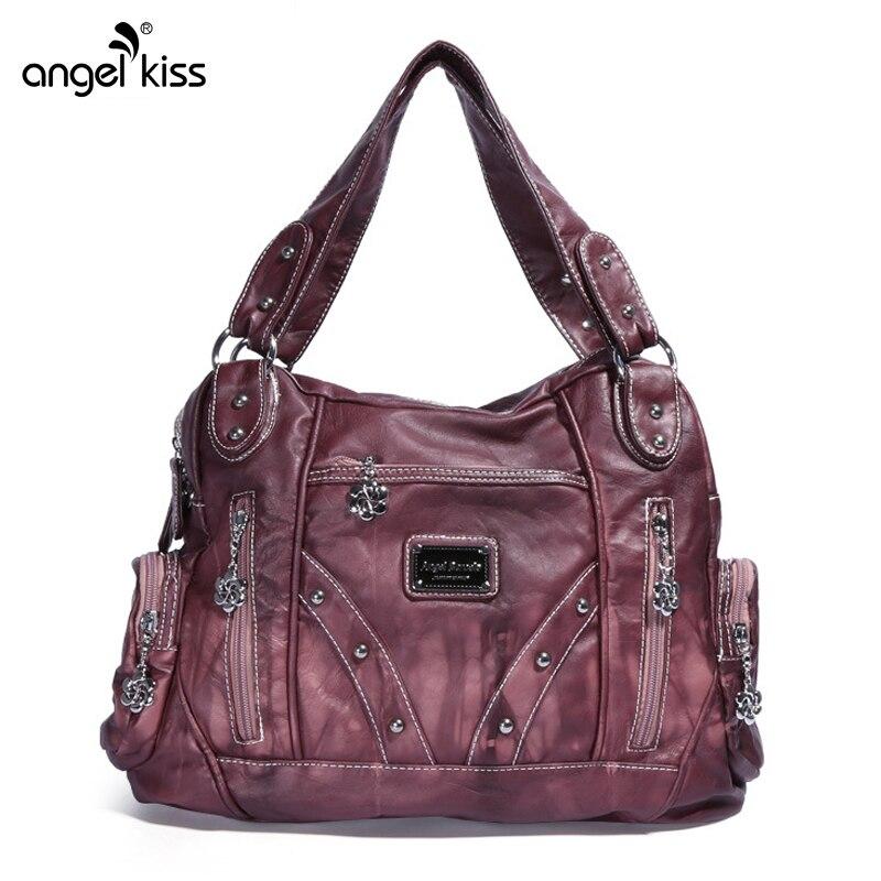 Front Zipper Pockets Rivet Washed Leather Women Soft Bag Women Handbags Shoulder Bag for Women 2019