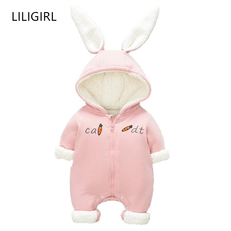 Toddler Baby Winter Warm Thick   Romper   for Girls Boys Cashmere Rabbit Carrot Jumpsuit Children's Hooded Clothing Overalls Suit