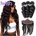 Brazilian Loose Wave Ear To Ear Lace Frontal Closure With Human Hair Bundles With Baby Hair Brazilian Virgin Hair With Frontal