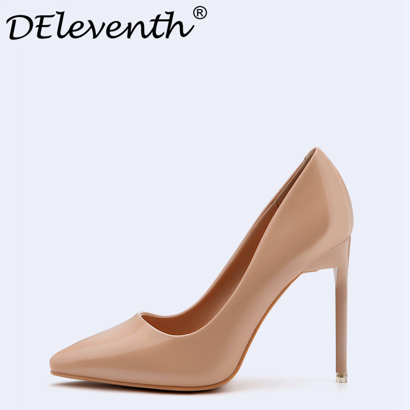Brand Office Lady Shoes High Heels Women Pumps Stiletto Heels Pumps Woman Wedding Party Dress Shoes Nude Red White Black US4-39 shinny patent leather high platform stiletto buckle strap women sandals party dress nude black lady pumps high heel dress shoes