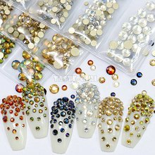 лучшая цена 6 Grids/Pack Nail Glitter Gold Flatback Diamond Gems Arylic Nail Art Rhinestone Jewel Decorations Manicure Design DIY JD#