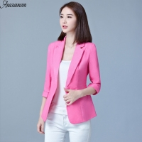 ANASUNMOON S XXXL Spring Autumn Single Button Women Suit Jacket 3 4 Sleeve Women Blazers Green