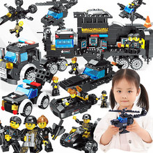 SWAT City Police Truck Building Blocks Sets Ship Helicopter Armored Vehicle Speedboat Creator Bricks Compatible Toys legoinglys city police station building blocks police helicopter blocks truck vehicle figures creator bricks for children gift