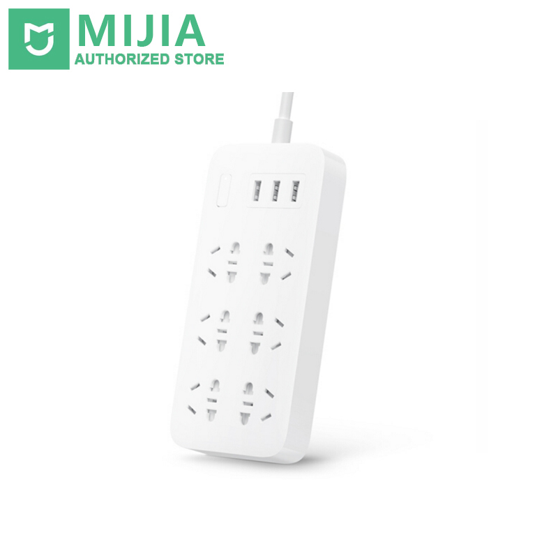 100 Original Xiaomi Mijia Mi Smart Power Strip 2A Fast Charging 3 USB Extension Socket Plug