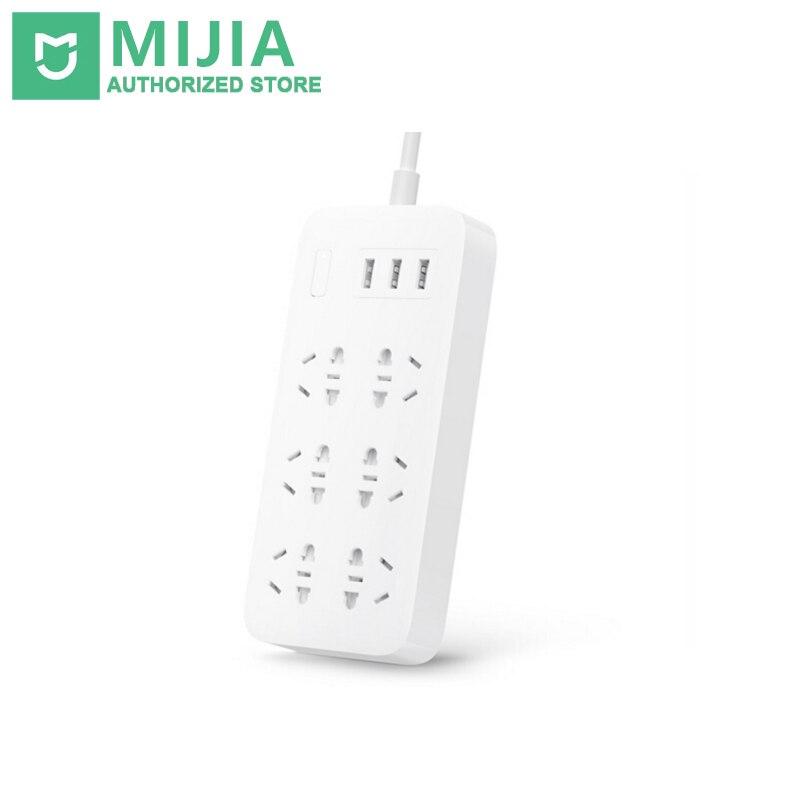 100% Original Xiaomi Mijia Mi Smart Power Strip 2A carga rápida 3 USB extensión enchufe 6 enchufes estándar adaptador UE