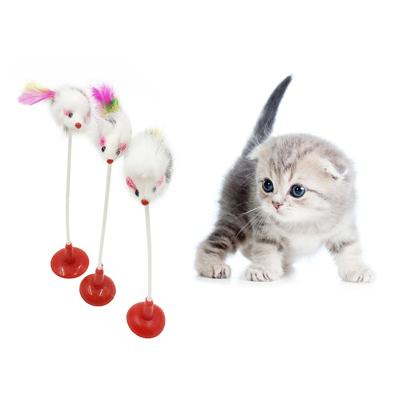 1pcs Funny Pet Cat Toys Feather False Mouse Bottom Sucker Cat Kitten Playing Toys Pet Seat Scratch Toy 20cm