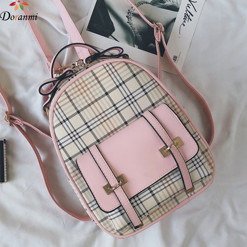 DORANMI Plaid Leather Backpacks For Women 2019 Square Small Schoolbag Female Back Shoulder Bag Classic Mochila Backpacks DJB613