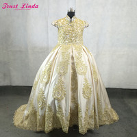Королевский платье с цветочным узором для девочек для свадьбы 2018 Атлас золотые кружева аппликации бисером бальное платье для девочек вечер
