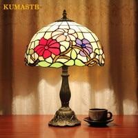 European Retro Creative Bedroom Bedside Light Decoration Study Table Desk Lamp Color Glass Flowers Table Lamp