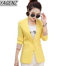 Female Spring Autumn Slim Long Sleeve Casual Small Suit 2017 Korean version Women Blazer Jacket White/Yellow/Blue S-XL Plus Size