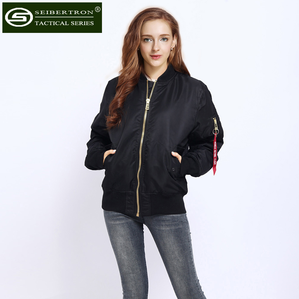 New Seibertron women MA1 Jacket Black Military Air Force MA-1 Coat Flight jacket Stylish Padded