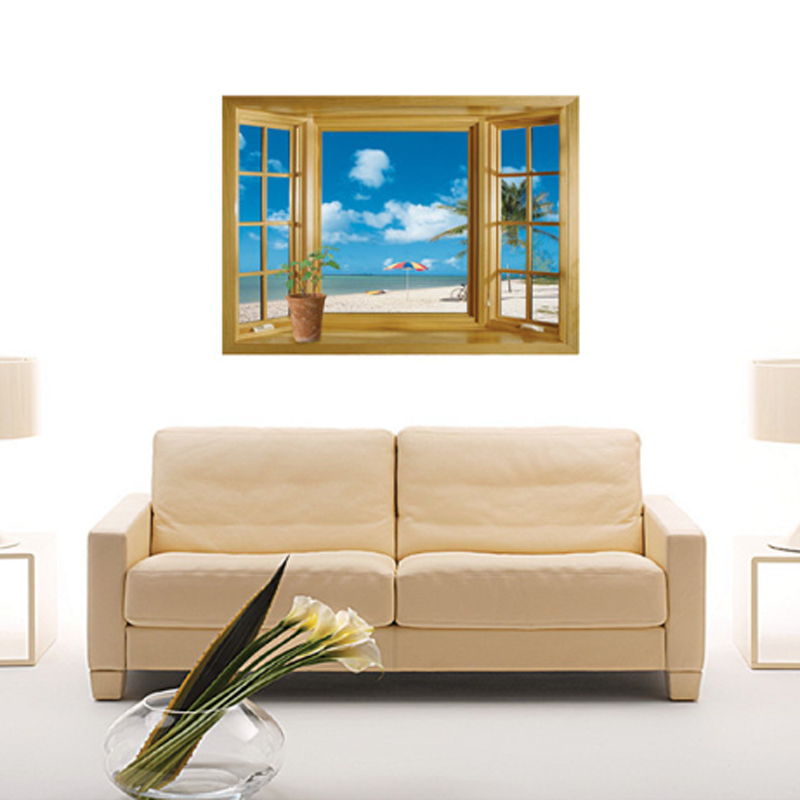 3D Fake Window Beach Scene Wall Decal Home Sticker Paper Art Picture DIY  Murals Kids Nursery
