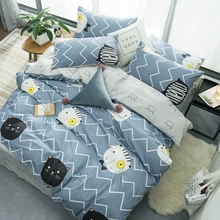 Dark and Light Gray plain double duvet cover set cartoon animal printing bedding wave style kids bed bedroom decoration