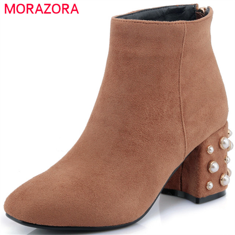MORAZORA Square toe high heels shoes woman ankle boots for women flock zip solid fashion boots in autumn party big size 34-42 enmayla autumn winter chelsea ankle boots for women faux suede square toe high heels shoes woman chunky heels boots khaki black