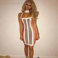 top quality women gown summer vestidos bandage dress halter sexy backless striped choker 2017 fashion cocktail party dresses