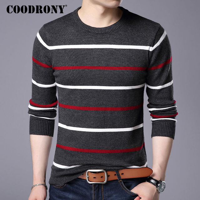 COODRONY O-Neck Pullover Men Sweater 2