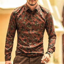 Men shirt Floral printing long sleeve shirts men clothes flowers printed shirts vintage Linen Casual Men Shirt  2018 new Spring