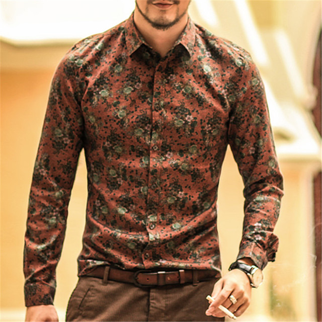 Men shirt Floral printing long sleeve shirts men clothes flowers printed  shirts vintage Linen Casual Men Shirt new Spring S2004 6e29e45592c