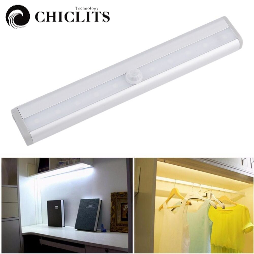 10LED Motion Sensor Closet Cabinet Lights Auto Night Light Wireless PIR Infrared Induction Night Lamp Kitchen Stairs Lighting icoco 1pcs 6 leds intelligent pir infrared human body induction lamp motion sensor night light for bedroom closet canbinet new