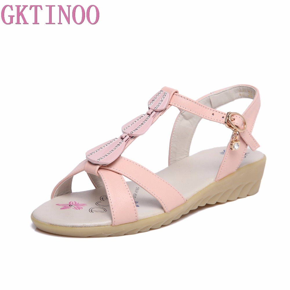 GKTINOO 2018 Summer Fashion Women Gladiator Sandals Shoes Genuine Leather Buckle Strap Flat Beach Sandals Ladies Shoes gktinoo genuine leather sandals women flat heel sandals fashion summer shoes woman sandals summer plus size 35 43 free shipping