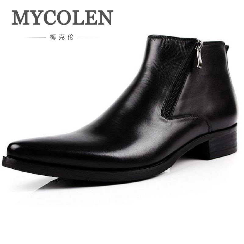 MYCOLEN Luxury Brand Chelsea Boots Men Genuine Leather Shoes Winter High Quality Brown Flats Casual Shoes Men Cowboy Boots Mens mycolen brand genuine leather men shoes handmade autumn winter brand high quality men flats shoes comfortable wear shoes