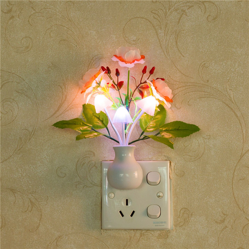 Colorful LED Rose Night Light Lamp Mushroom Romantic Lilac Night Light Lempe For Home Art Decor Illumination US/EU Plug