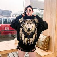 2019 winter new sweater tide brand sequins wolf head turtleneck sweater women's loose short section was thin street wind sweater