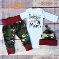 Newborn Baby Girls Clothes 2016 Baby Boy Girl Clothing Cotton Long-Sleeved Rompe+Camouflage Pants+Hat Infant Letter 3Pcs Suit