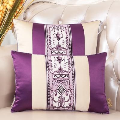Последние европейские декоративные Чехлы для дивана, кресла, спинки, поясничная Подушка, роскошный Шелковый атласный чехол для подушки - Цвет: purple red