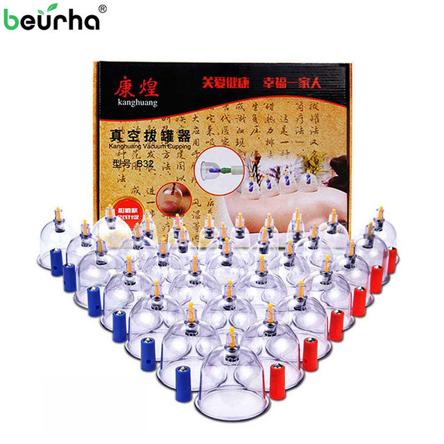 32PCS/Set Medical Vacuum Cupping With Suction Pump Suction Therapy Device Set Herapy Kit Body Relaxation Healthy Massage Care