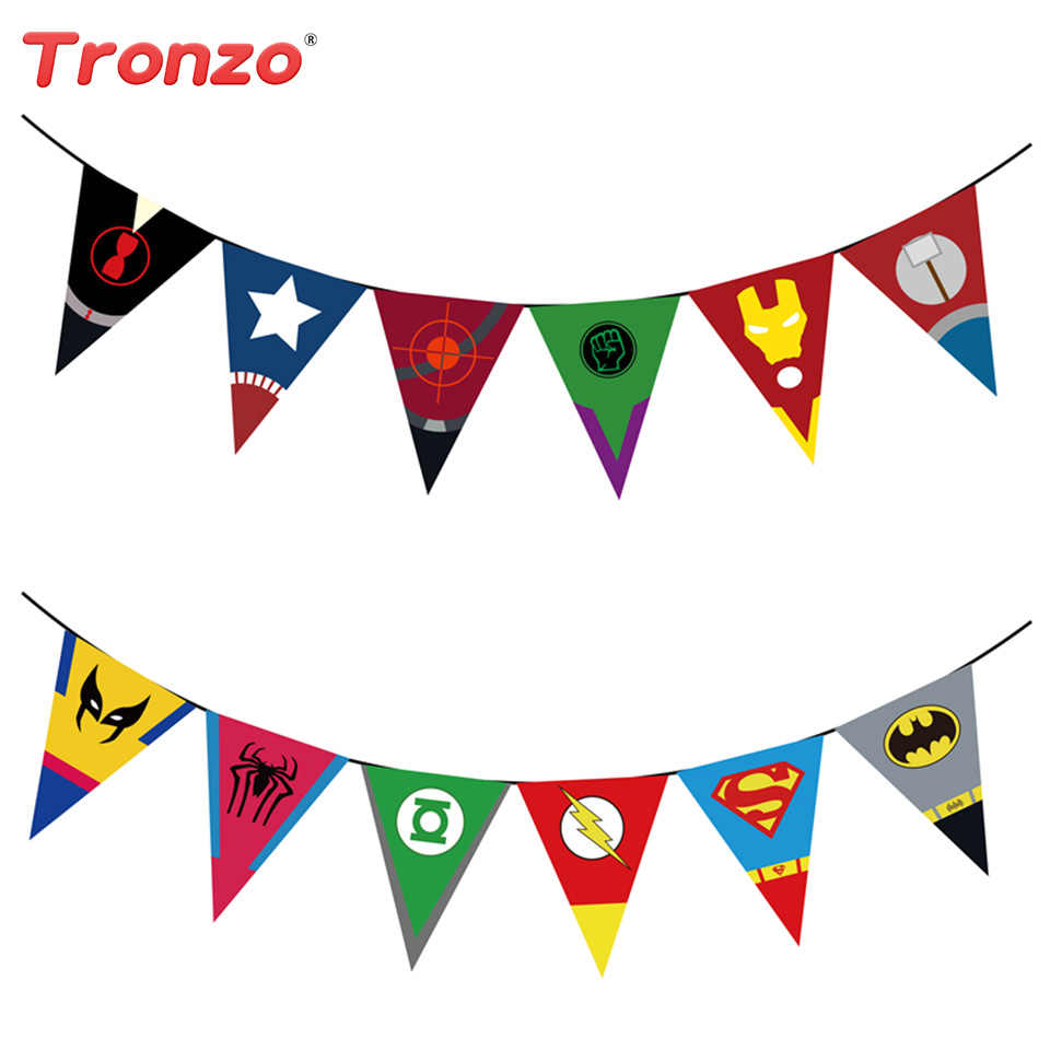 Tronzo 2.2M Happy Birthday Party Flags Avengers Party Decorations Super Hero Banner For Children's Day Supplies Birthday Favor