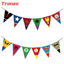 Tronzo 2.2M Happy Birthday Party Flags Decoraciones para fiestas de cumpleaños Kids Avengers Hero Party Banner para suministros para el día infantil